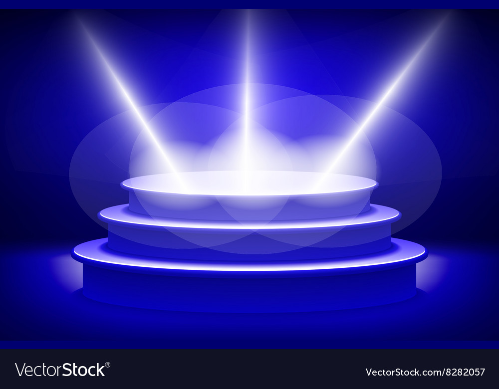 Empty Stage Lit With Lights On Blue Background Vector Image