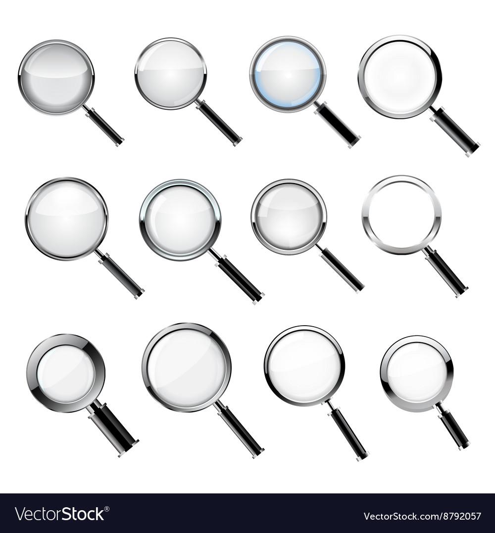 Set Realistic loupe vector image