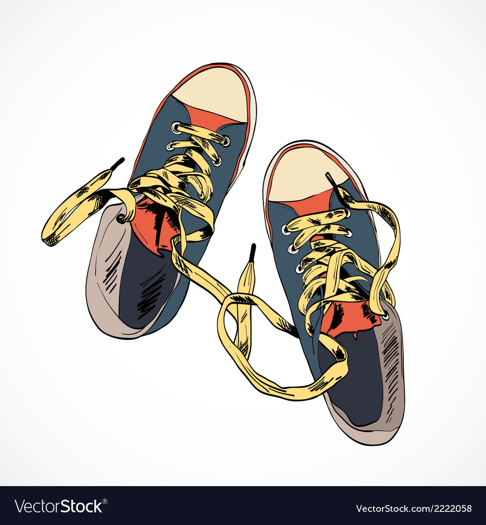 Colored gumshoes sketch vector image