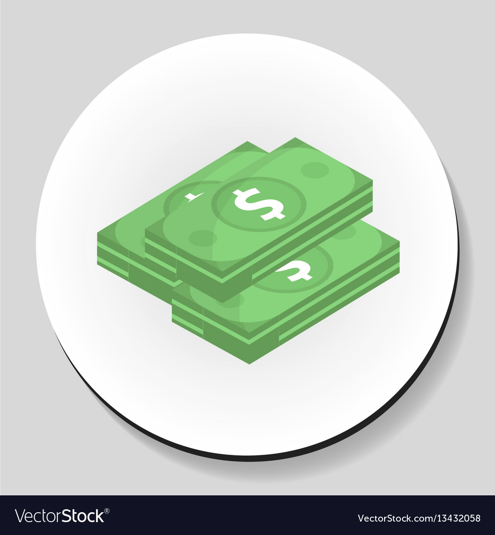 Dollars money sticker icon flat style vector image