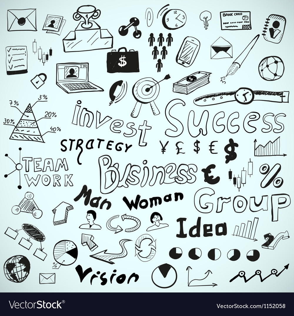 Tablet-drawn doodles business theme vector image