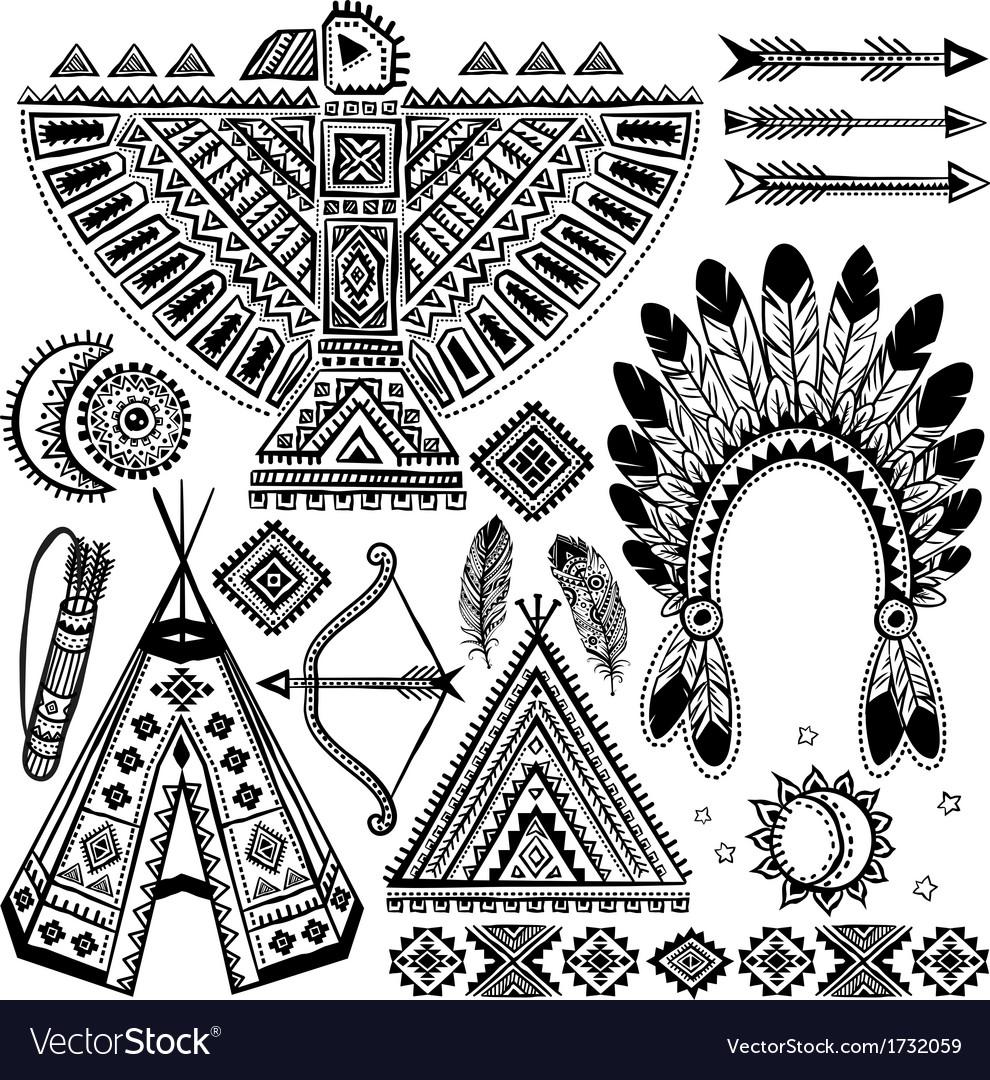 Tribal native American set of symbols vector image