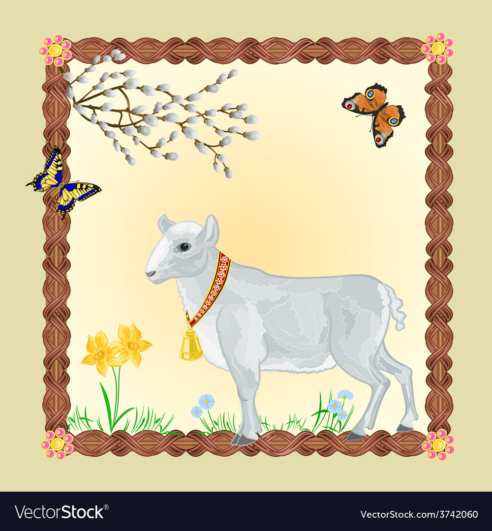 Easter Lamb with butterflies and Pussycats vector image