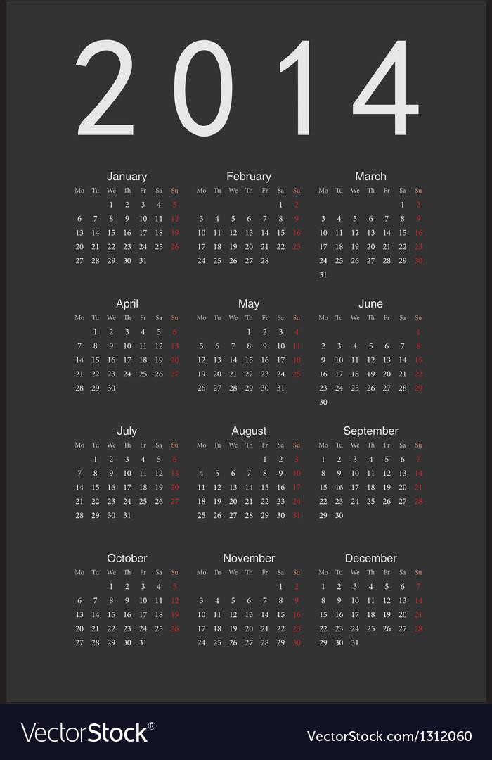 Simple black calendar 2014 vector image