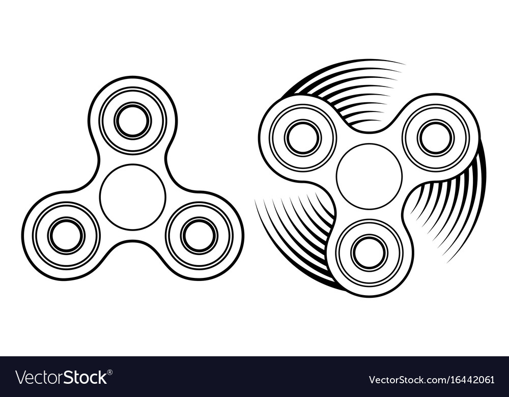 Fidget spinner linear icon stress relief toy and vector image