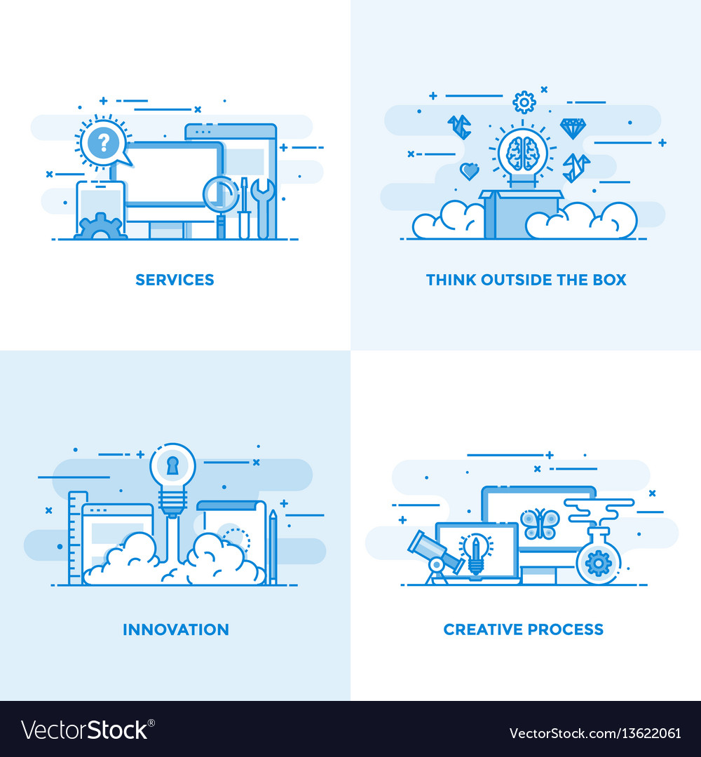 Flat line designed concepts 5 vector image