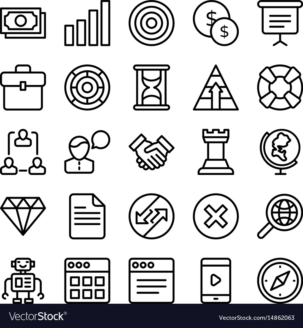 Business and office line icons 2 vector image