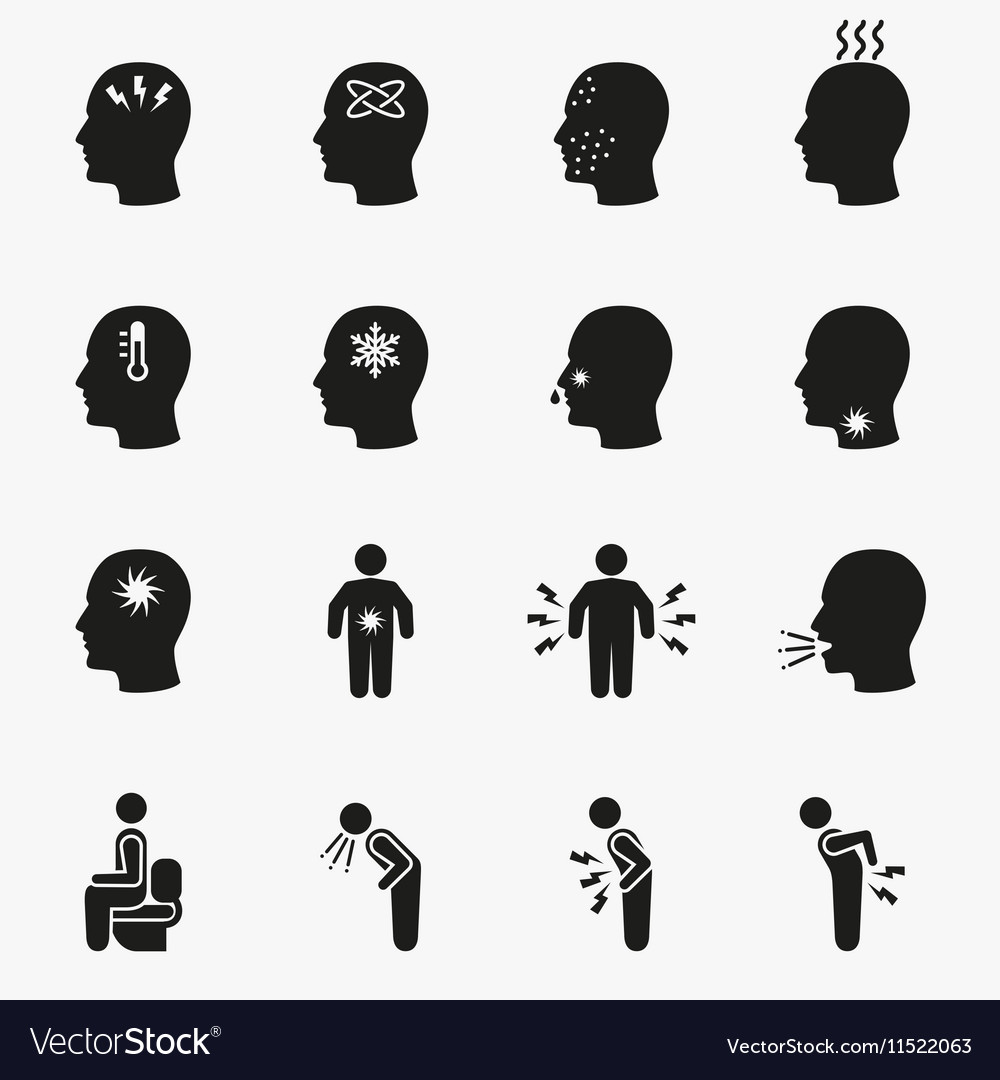 Diseases and sick icons vector image