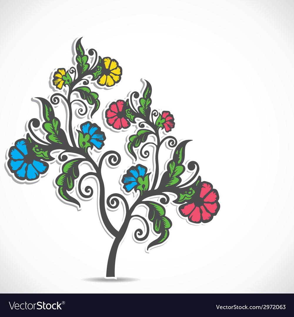 Retro flower plant stock vector image
