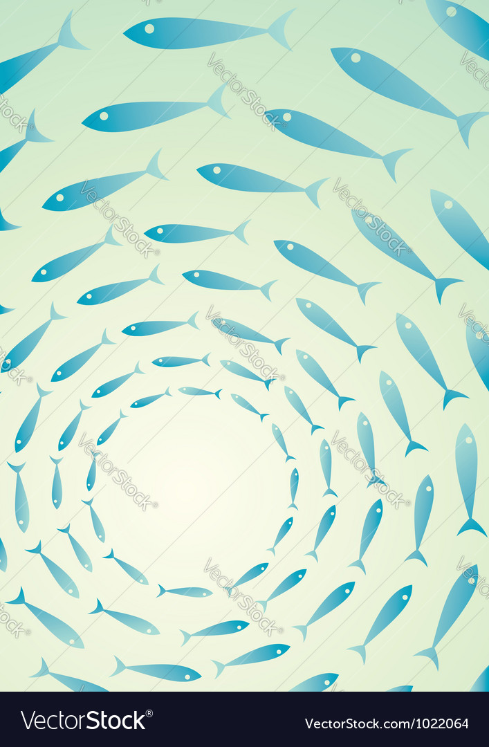 Flock of fish in the sea vector image