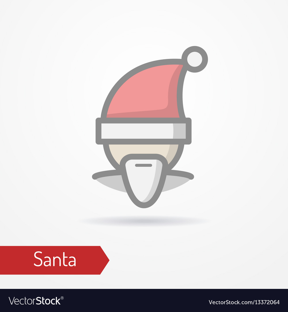 Santa claus in new year hat icon vector image