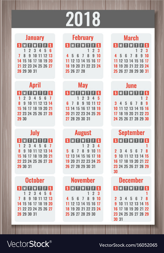 Calendar for 2018 week starts sunday simple vector image