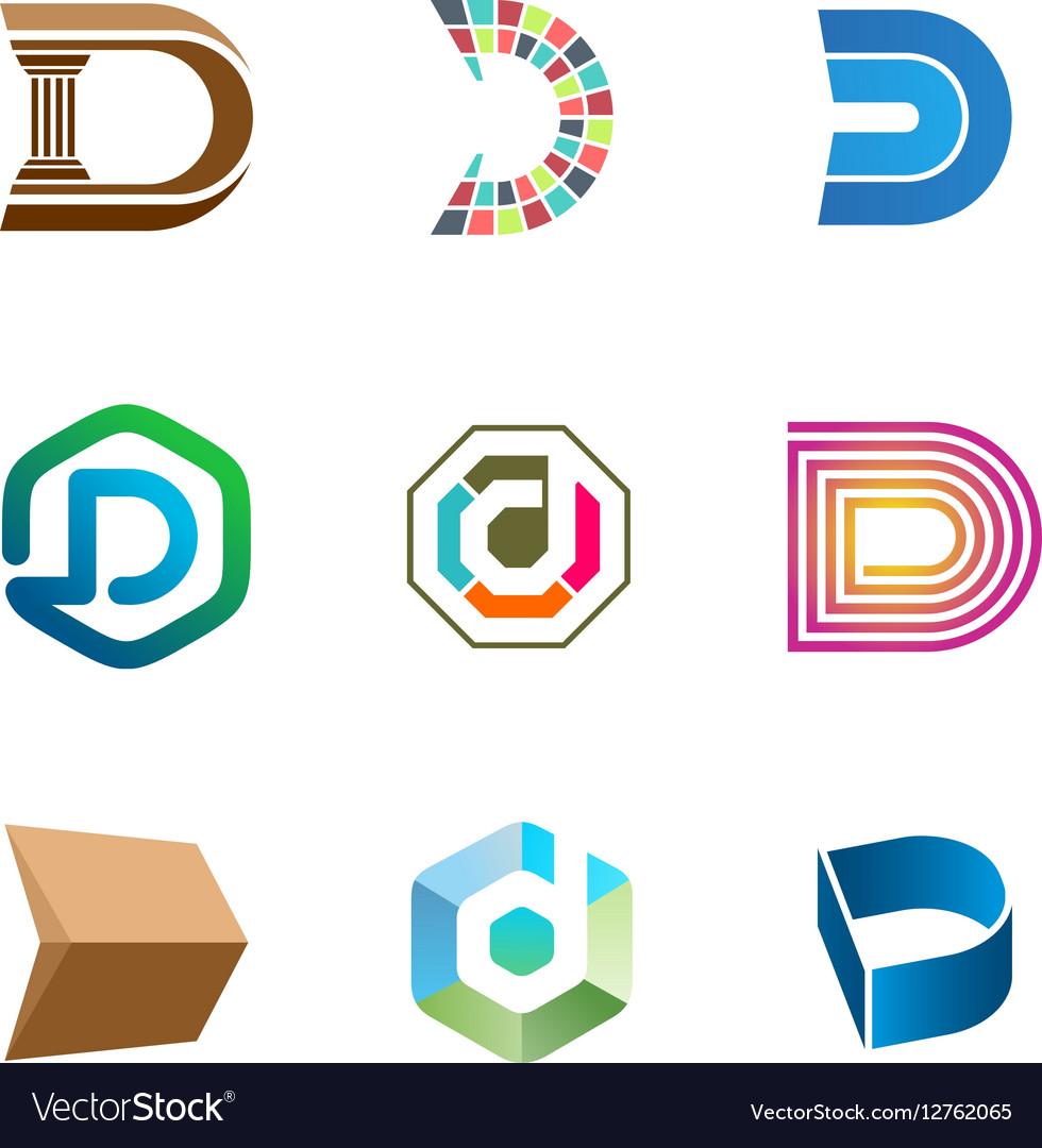 Letter D logo set Color icon templates design vector image