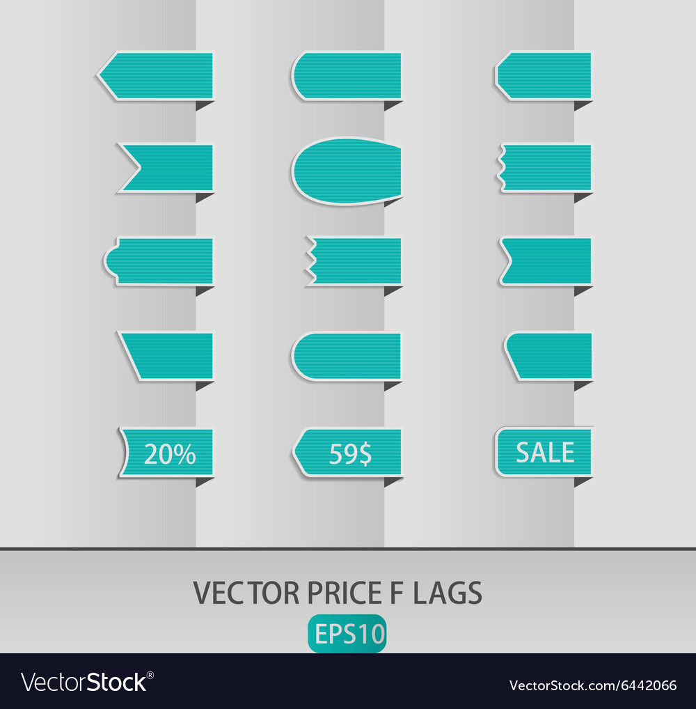 Blue price ribbons Sale tags vector image