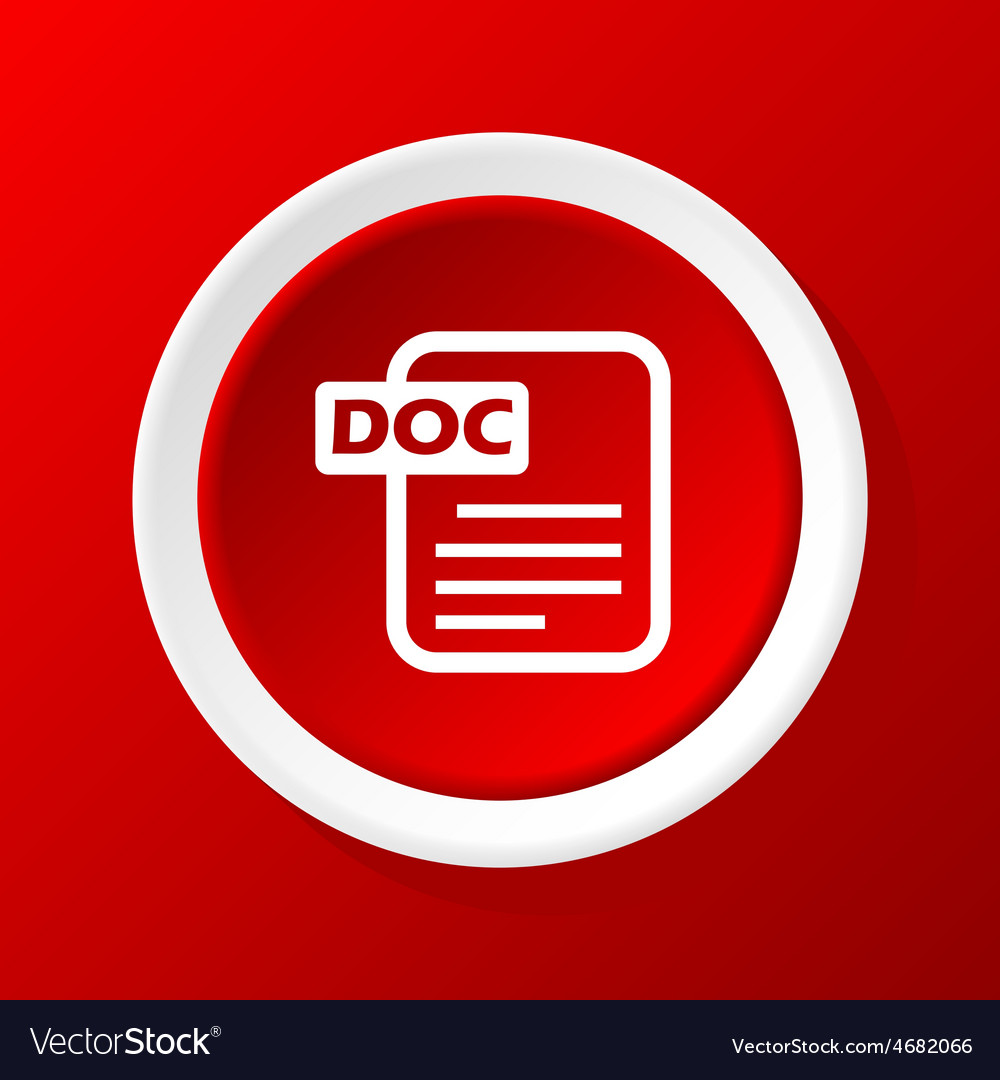 Doc file icon on red vector image
