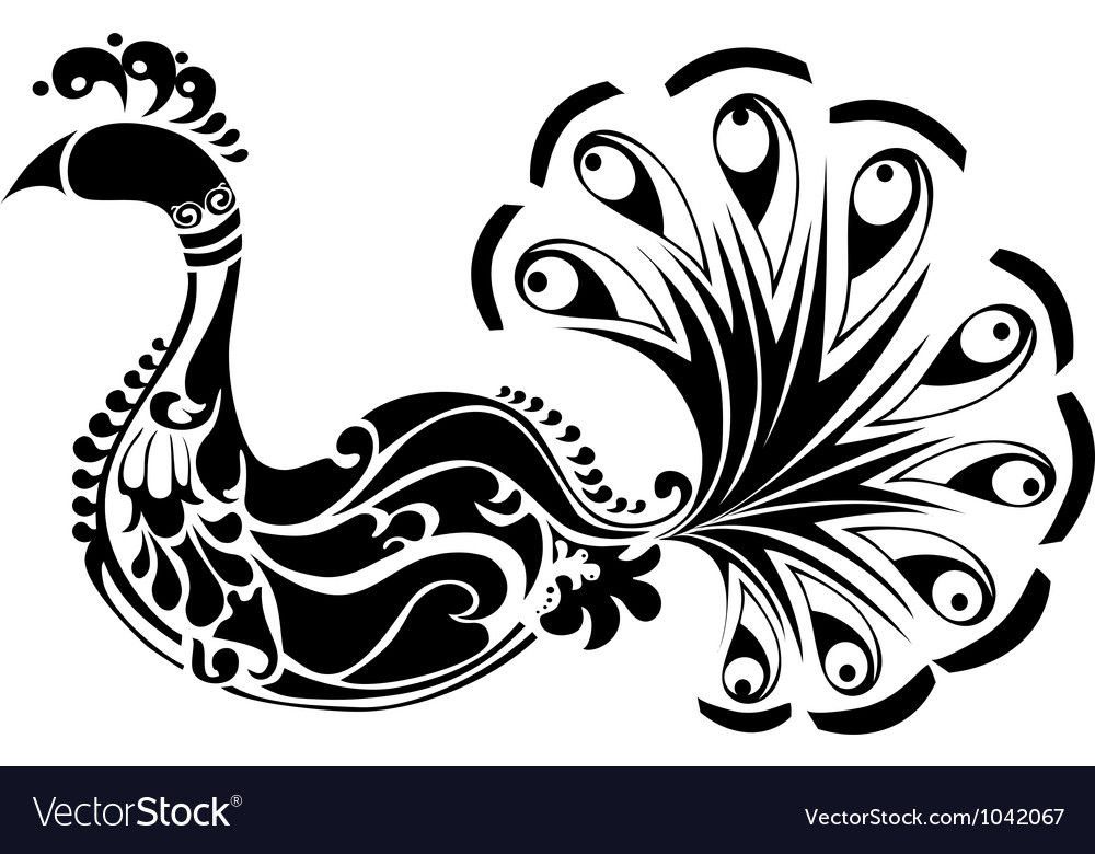 Decorative Peacock black and white vector image