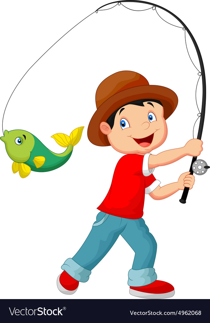 how to draw a boy fishing