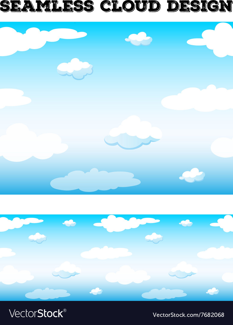 Seamless blue sky with fluffy clouds vector image