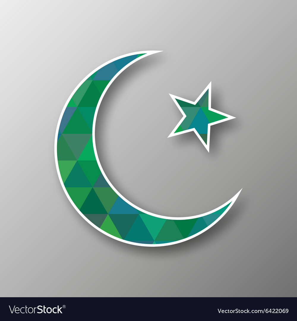Crescent moon with star in triangle mosaic vector image