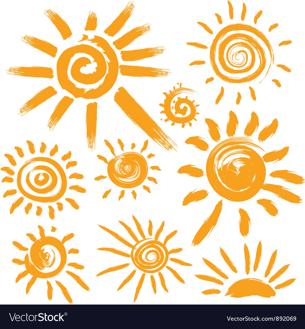 Set of handwritten sun symbols vector image