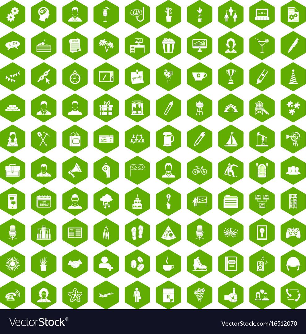 100 team building icons hexagon green vector image