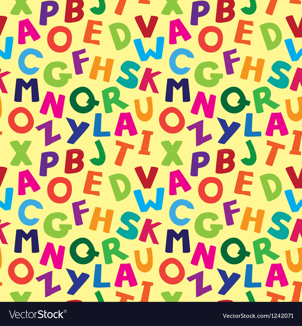 Seamless pattern with cartoon letters Vector Image