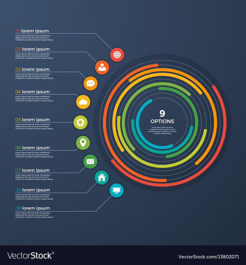 Presentation infographic circle chart 9 options vector image