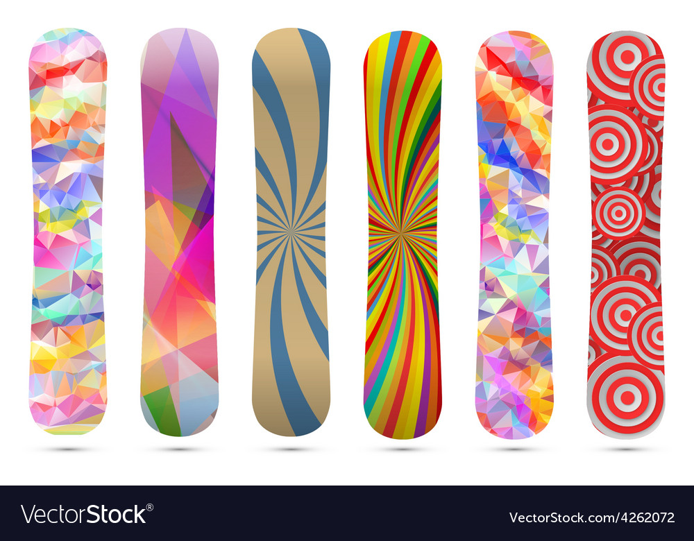 Snowboard design template isolated on white vector image