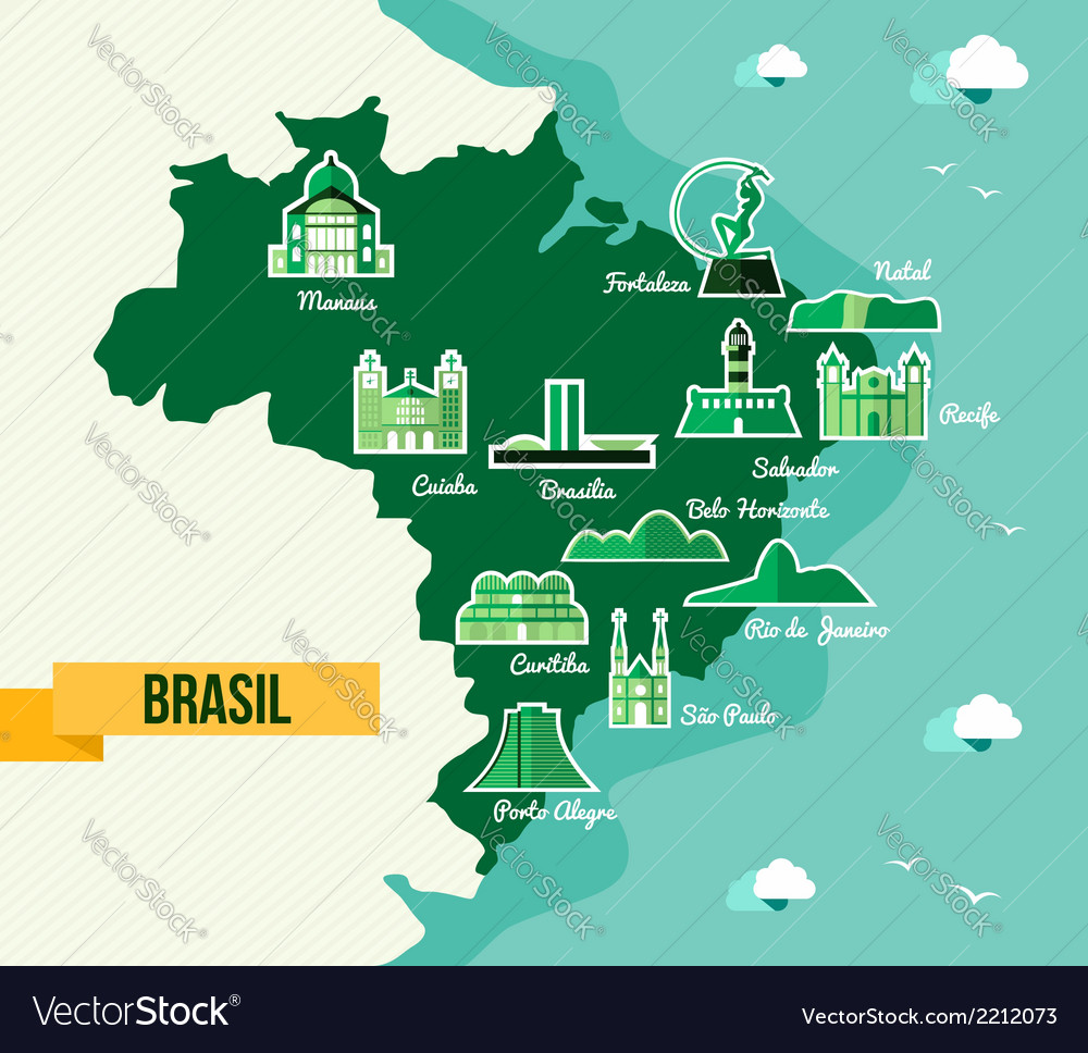 Landmark Brazil map silhouette icon Royalty Free Vector