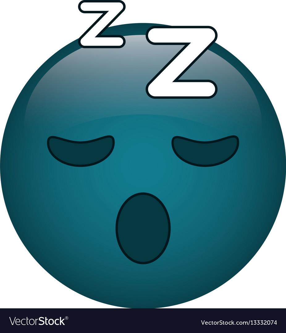 Sleepy emoticon funny icon vector image