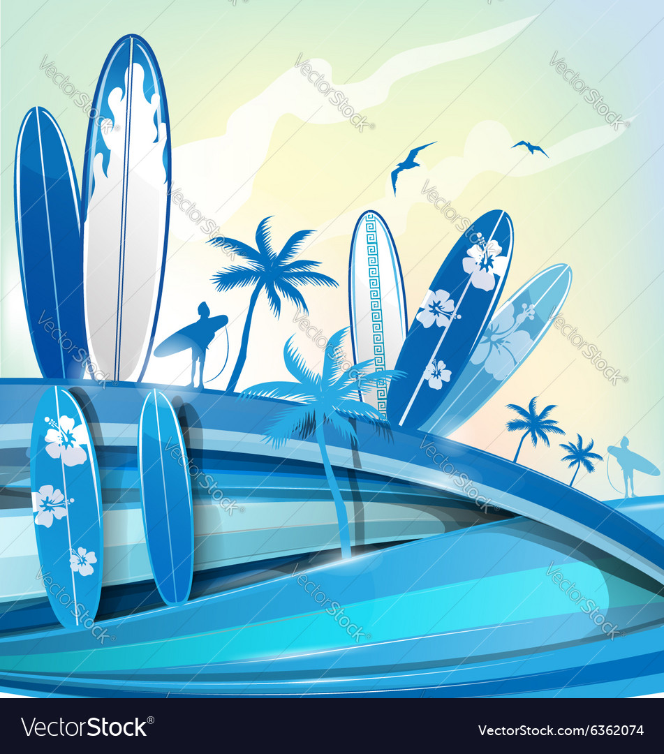 Surfboard background on sky background vector image