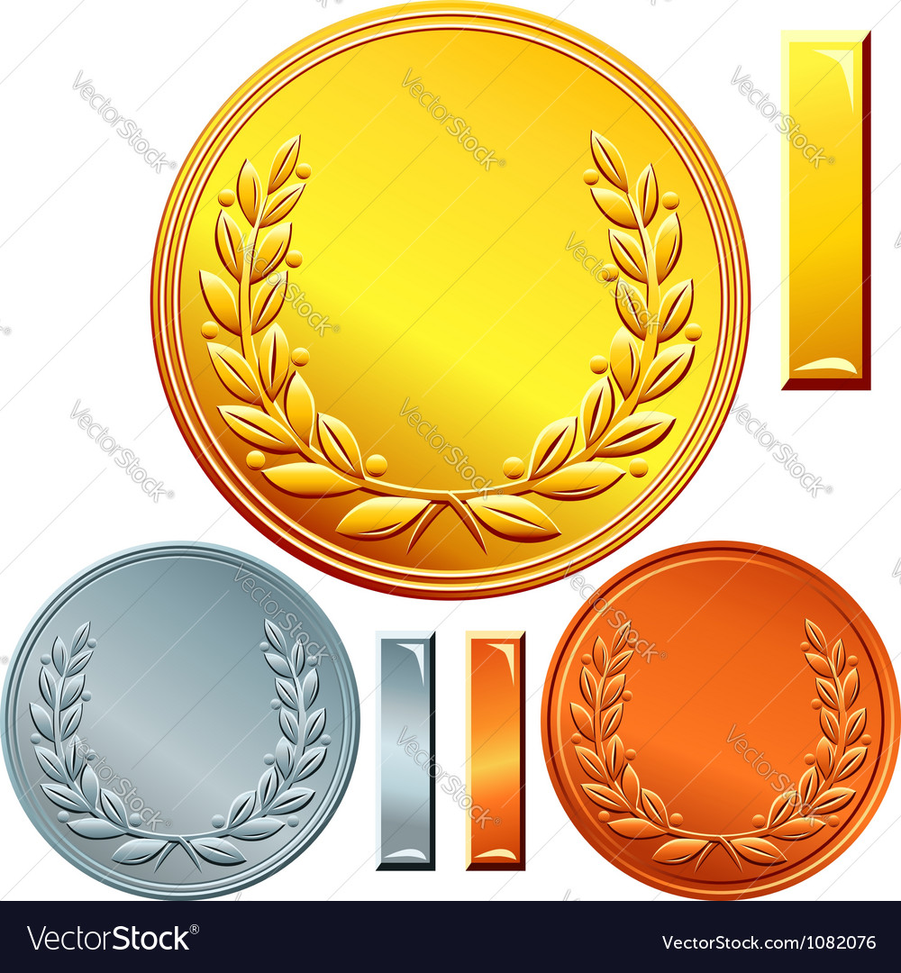 Gold silver and bronze coins Vector Image