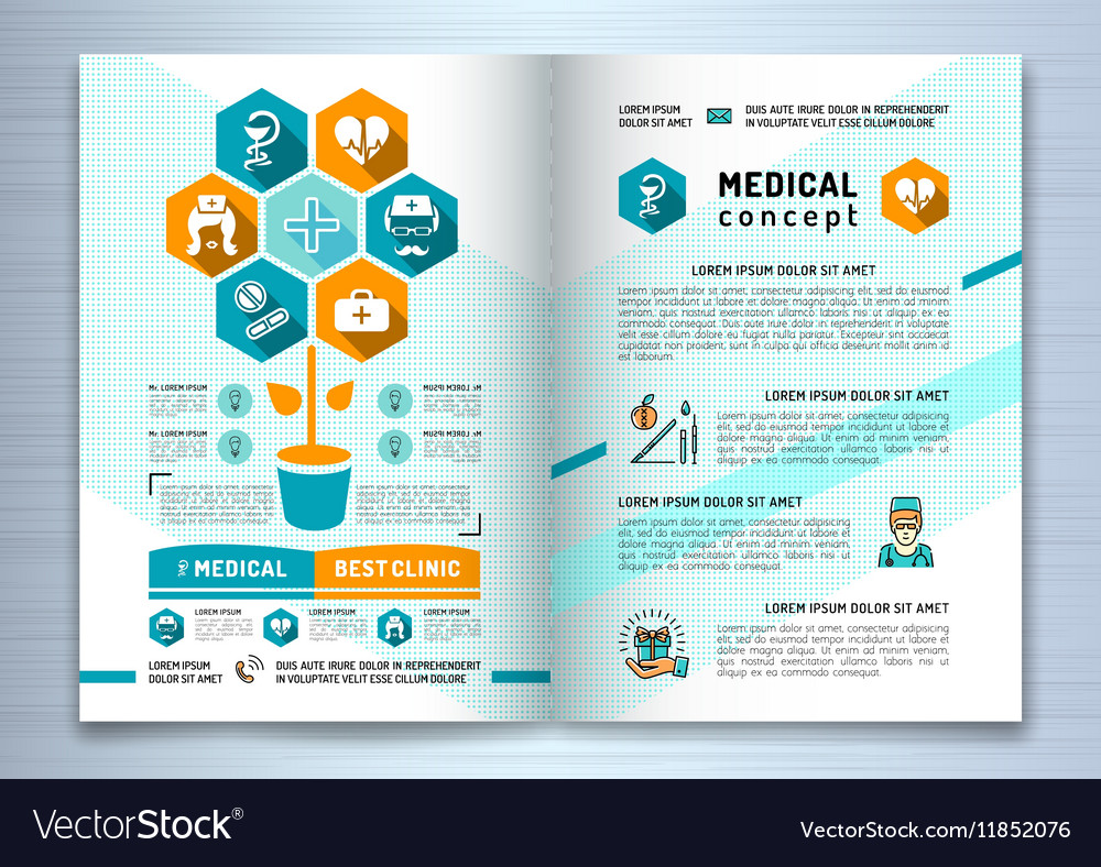 Design Medical Brochure Template A Size Catalog Vector Image - Medical brochure template