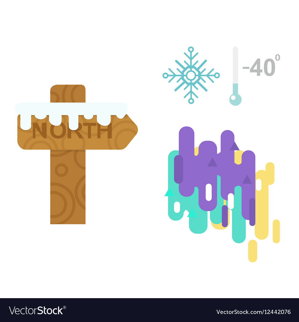 Northern lights and wooden sign post vector image