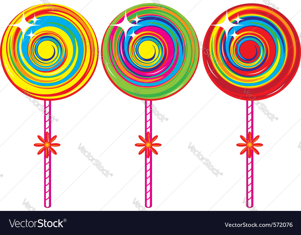 Set of colorful lollipops vector image