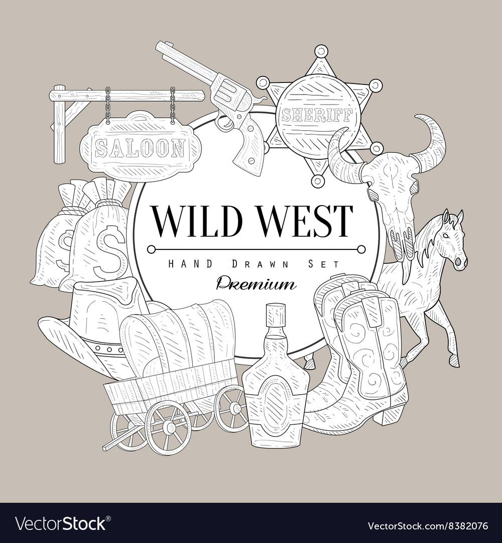 Wild West Set Vintage Sketch vector image