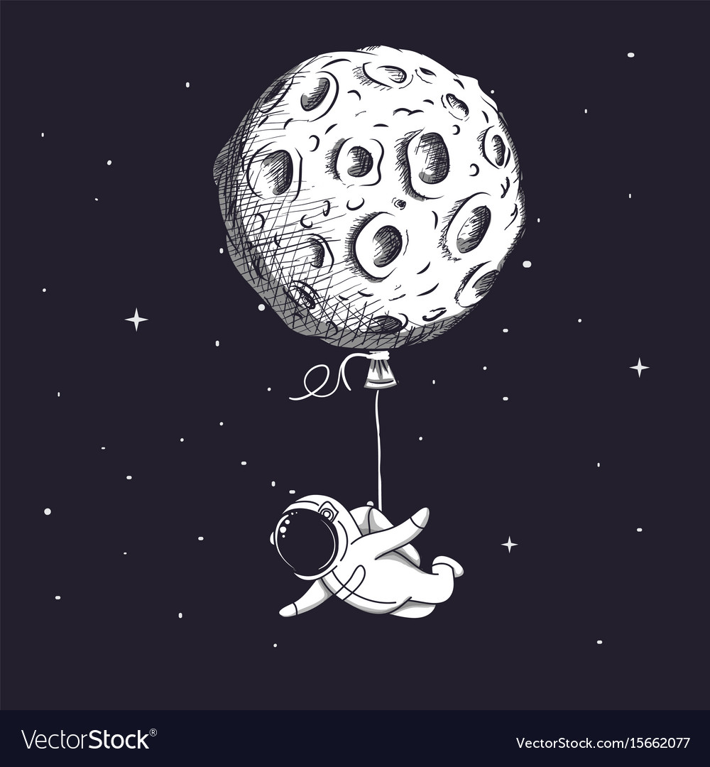 Funny spaceman fly with moon like a balloon vector image