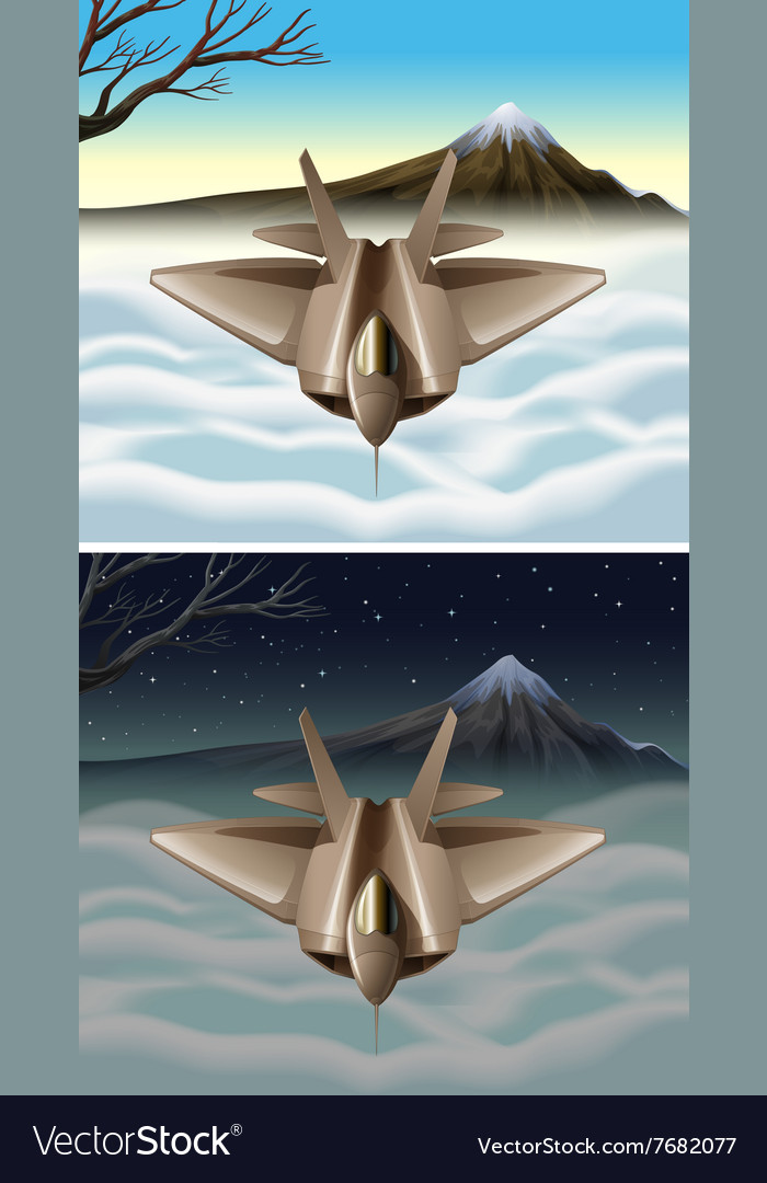 Spaceship flying in the sky vector image