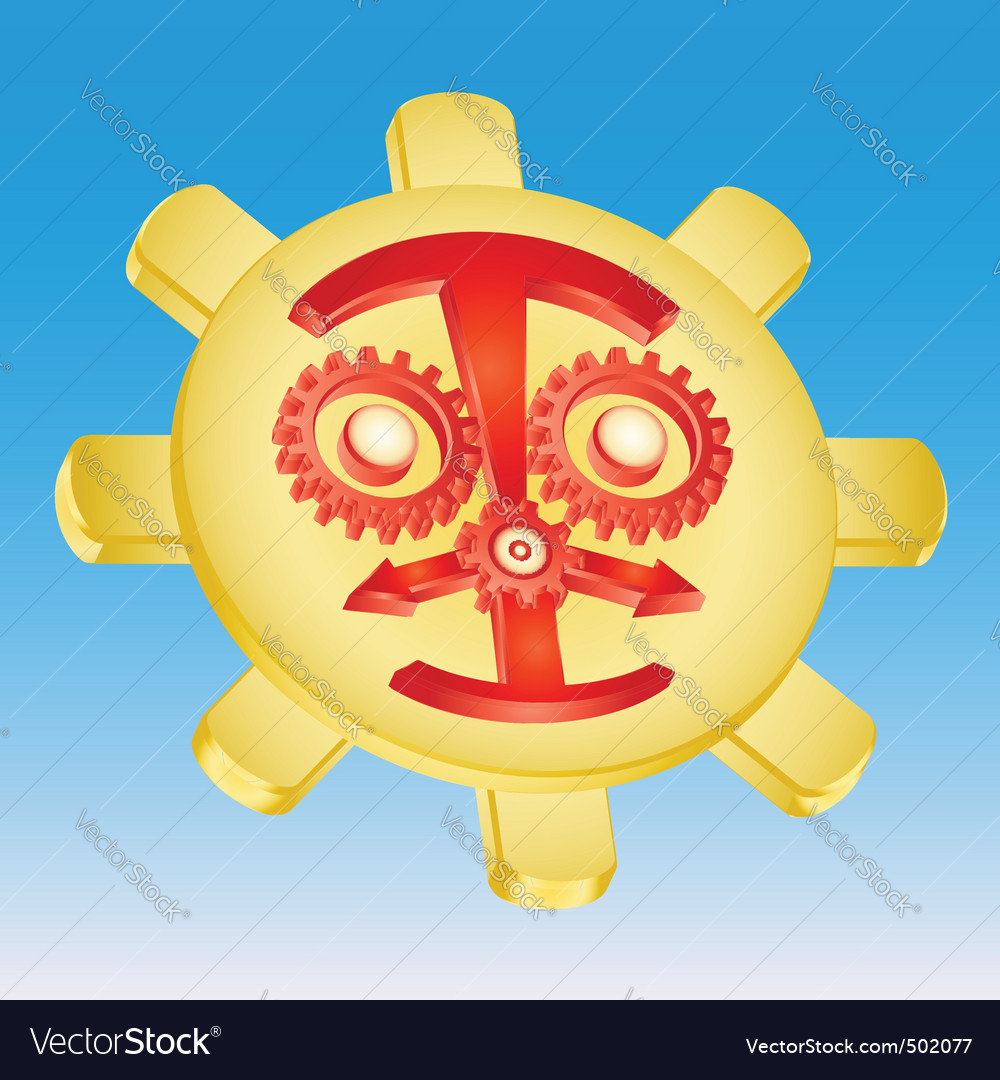 Sun gear mechanism vector image