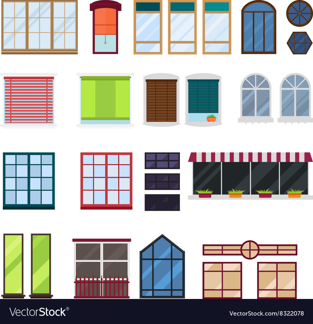 Different types house windows elements royalty free vector for Different types of house windows