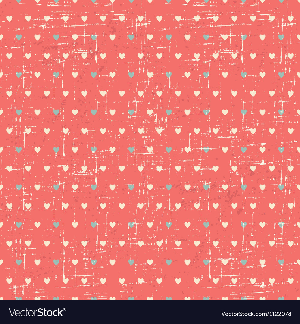 Seamless retro pattern of Valentines hearts vector image