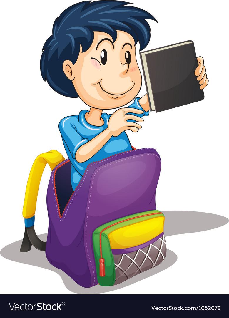 A boy in the school bag vector image