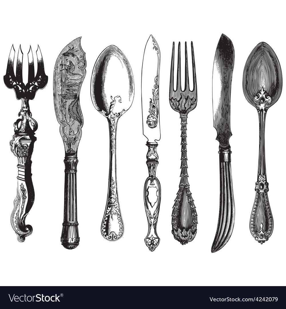 Vintage utensils vector image