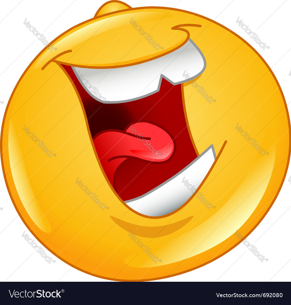 Laughing out loud emoticon vector image