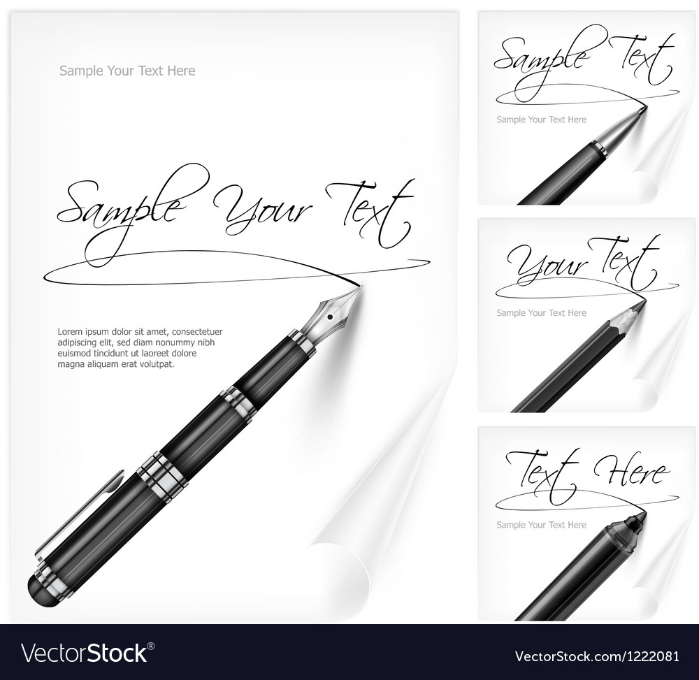 Writing tools and paper sheet vector image