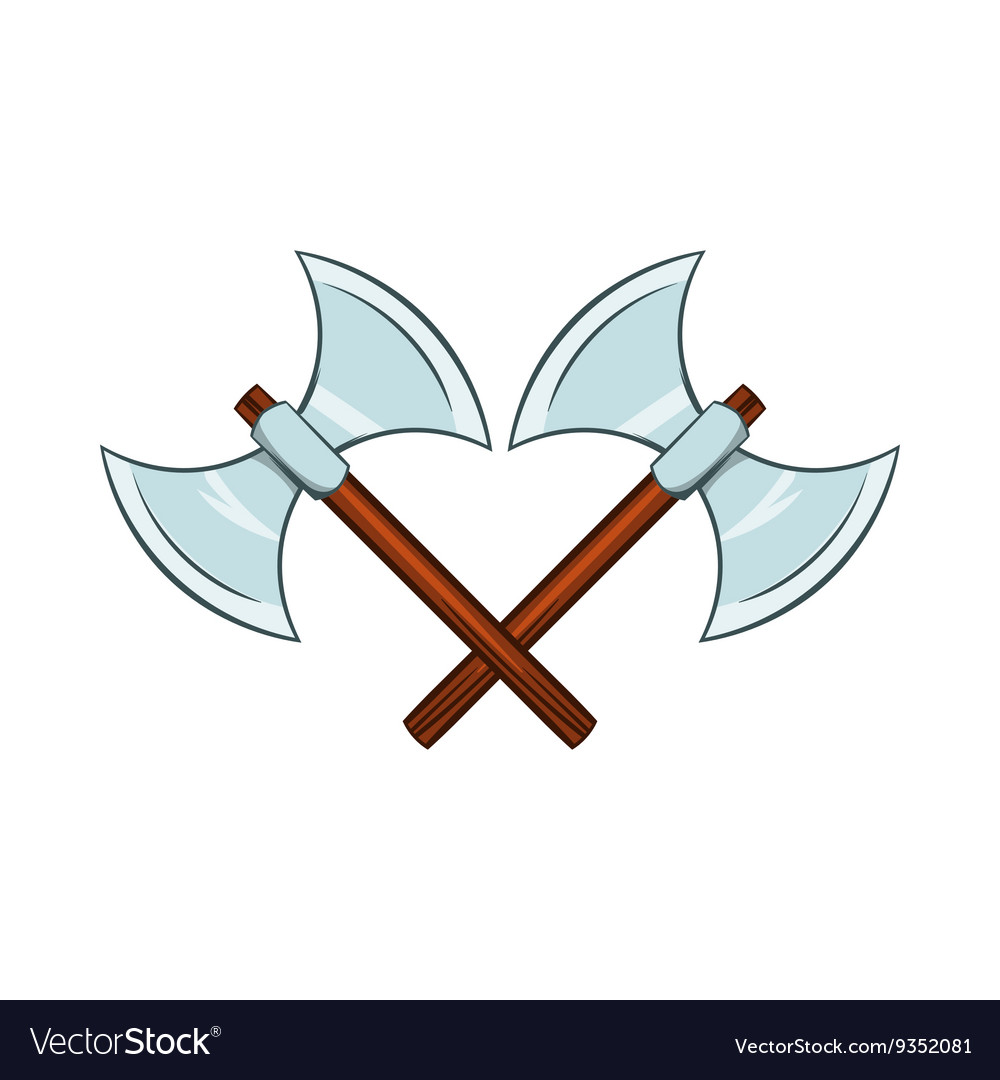 Crossed ancient battle double axes icon vector image