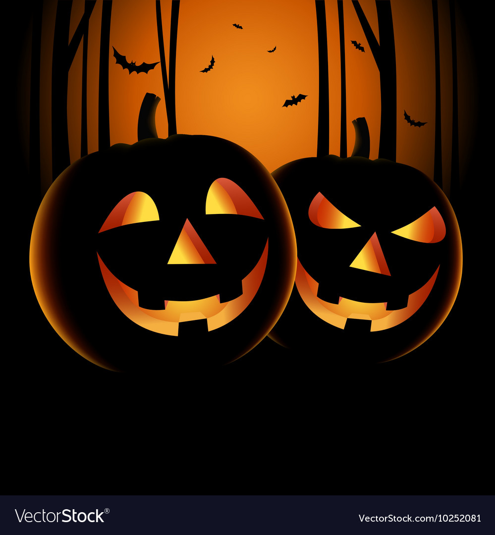 Halloween night backdrop with pumpkins and haunted
