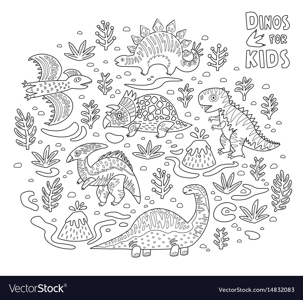 Cartoon dinosaurs collection in outline vector image