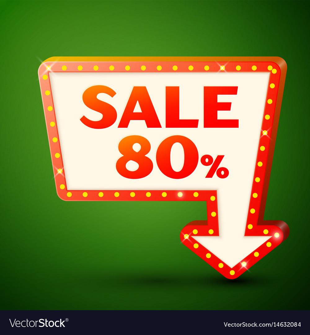 Retro billboard with sale 80 percent discounts vector image
