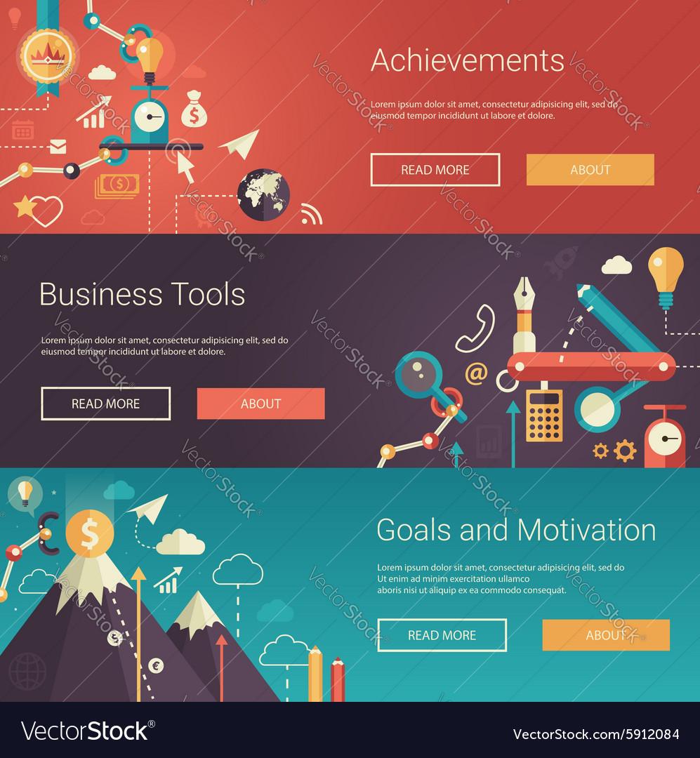 Set of modern flat design business banners vector image